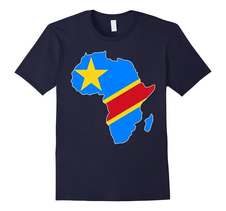 Democratic Republic of Congo flag Africa map t-shirt-Art