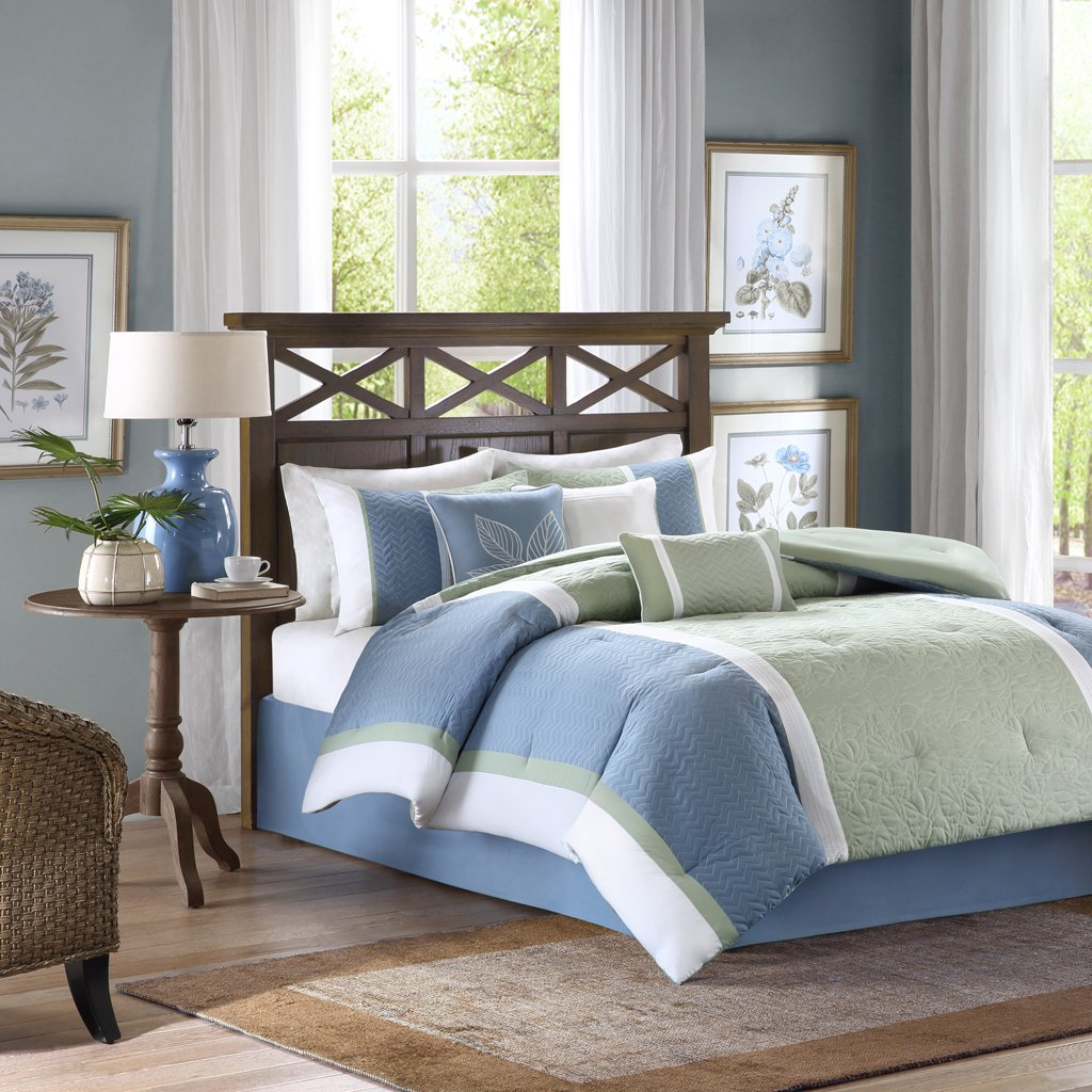 Madison Park America Bethany 7 Piece Comforter Set, King, Blue by Madison Park