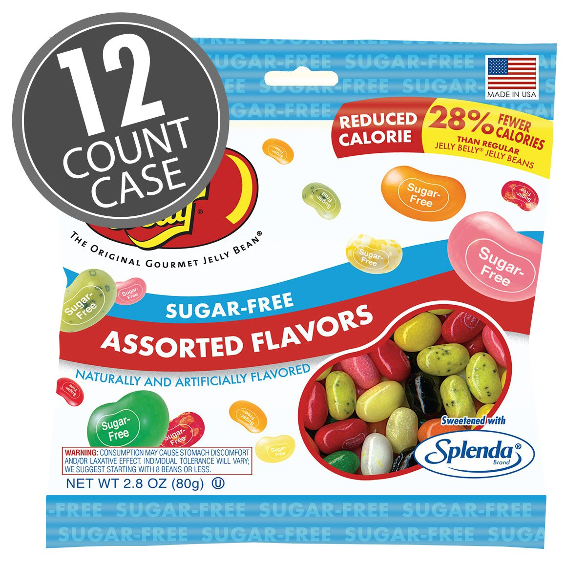 Sugar-Free Jelly Belly Jelly Beans - 12 x 2.8 Ounce Bags - Genuine, Official, Straight from the Source by Jelly Belly