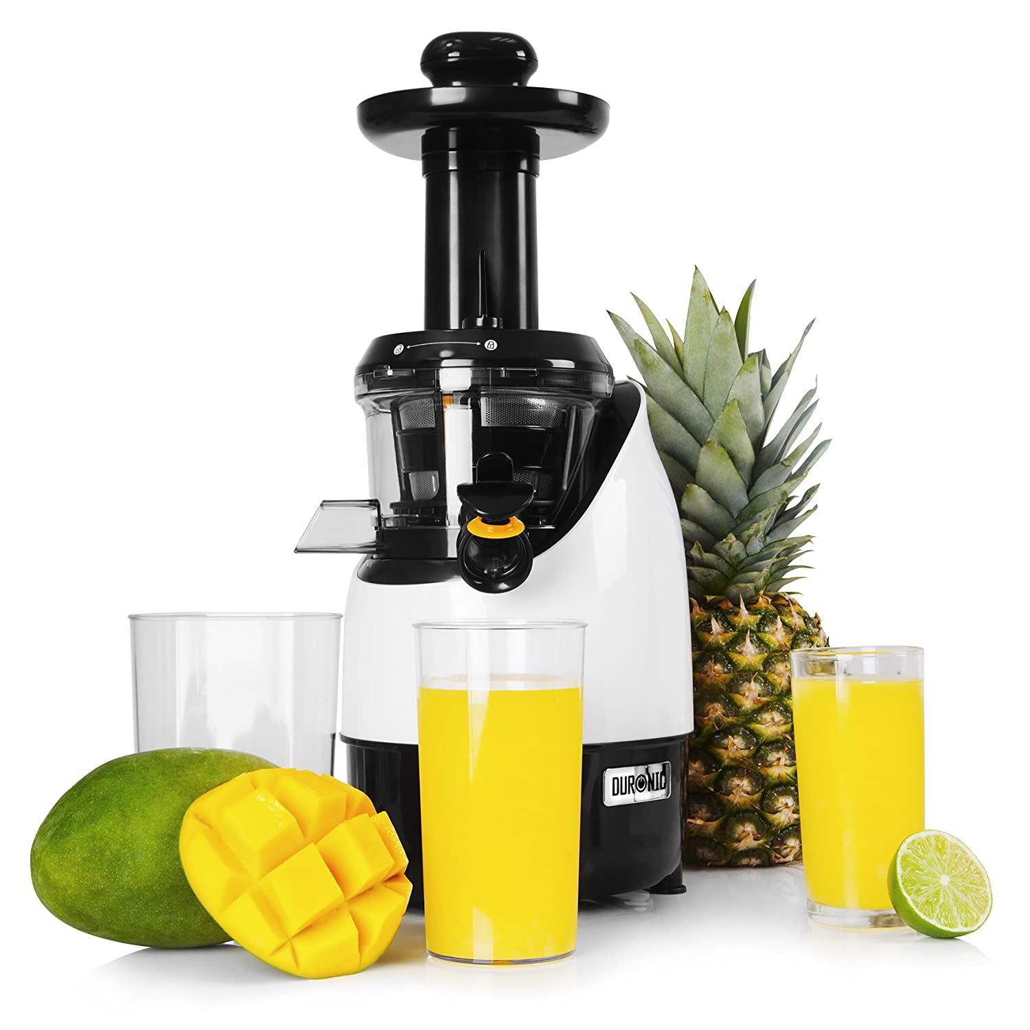 Duronic JE2 Slow Masticating Juicer Cold Press Extractor Fruit and Vegetable Juicing Juice Machine