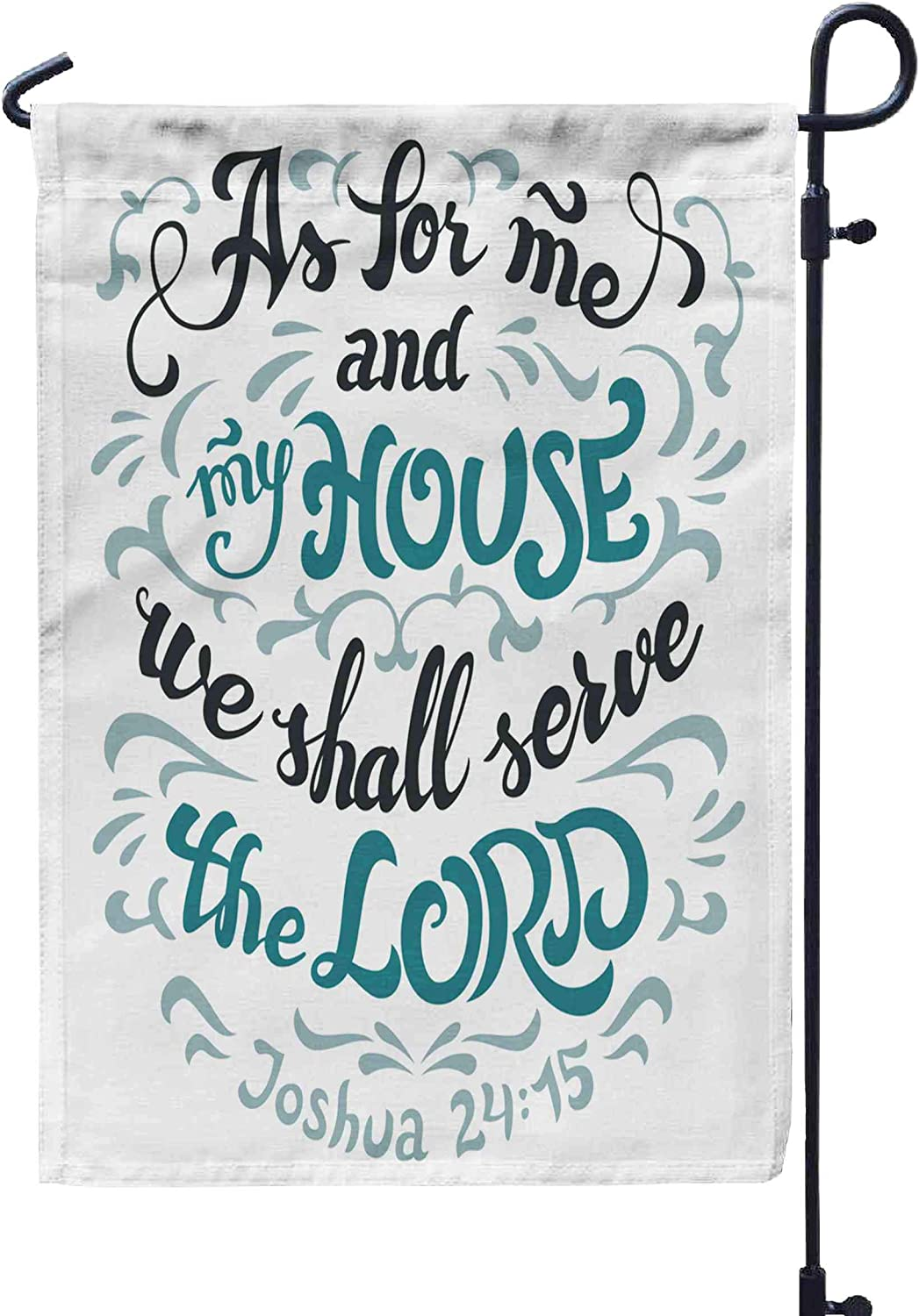 HerysTa Garden Flag Stand, Decorative Yard Farmhouse Holiday Banner 12 x 18 inches As Me My House We Shall The Lord Bible Quote Isolated White Background Joshua Double-Sided Seasonal Garden Flags