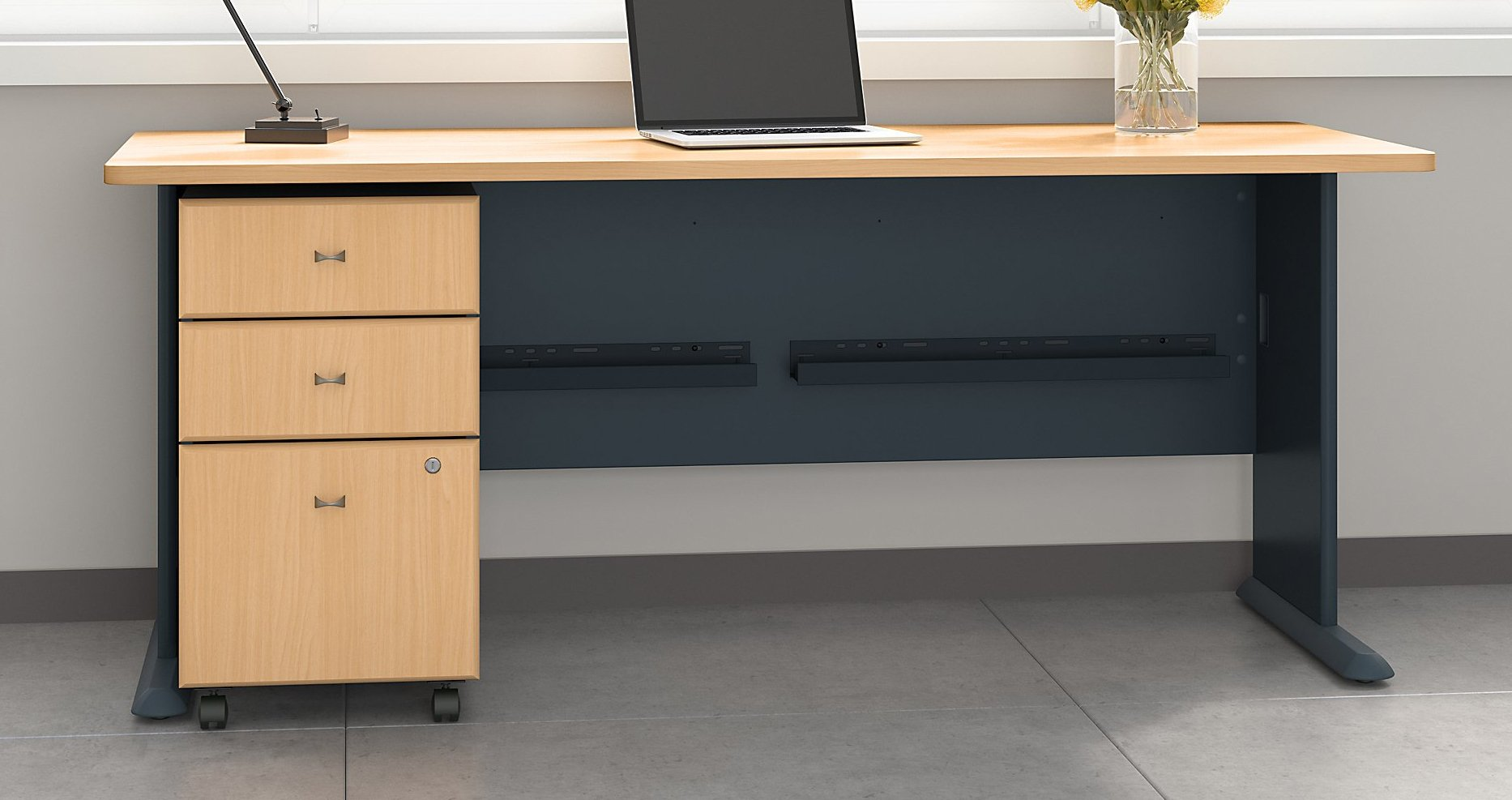 Bush Business Furniture Series A 72W Desk with Mobile File Cabinet in Beech and Slate