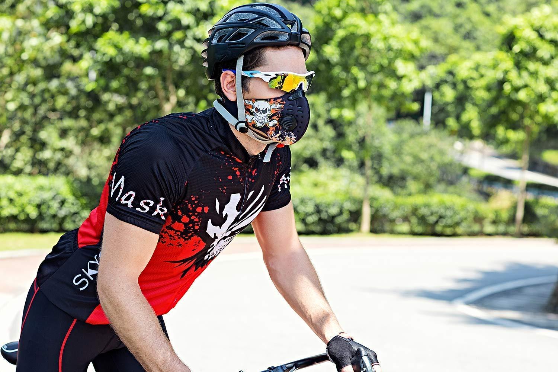SKYSPER M/áscara para Ciclismo Bicicleta Deportivo Filtro de Aire Antipolvo A Prueba de Viento carb/ón Mascarilla contaminacion Mitad Cara para Moto Esqu/í Montar Viaje Actividades al Aire Libre