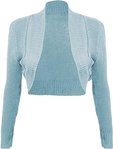 TaDa Ladies Knitted Crochet Bolero Crop Shrug Cardigan Girls Cut Out Dress Top