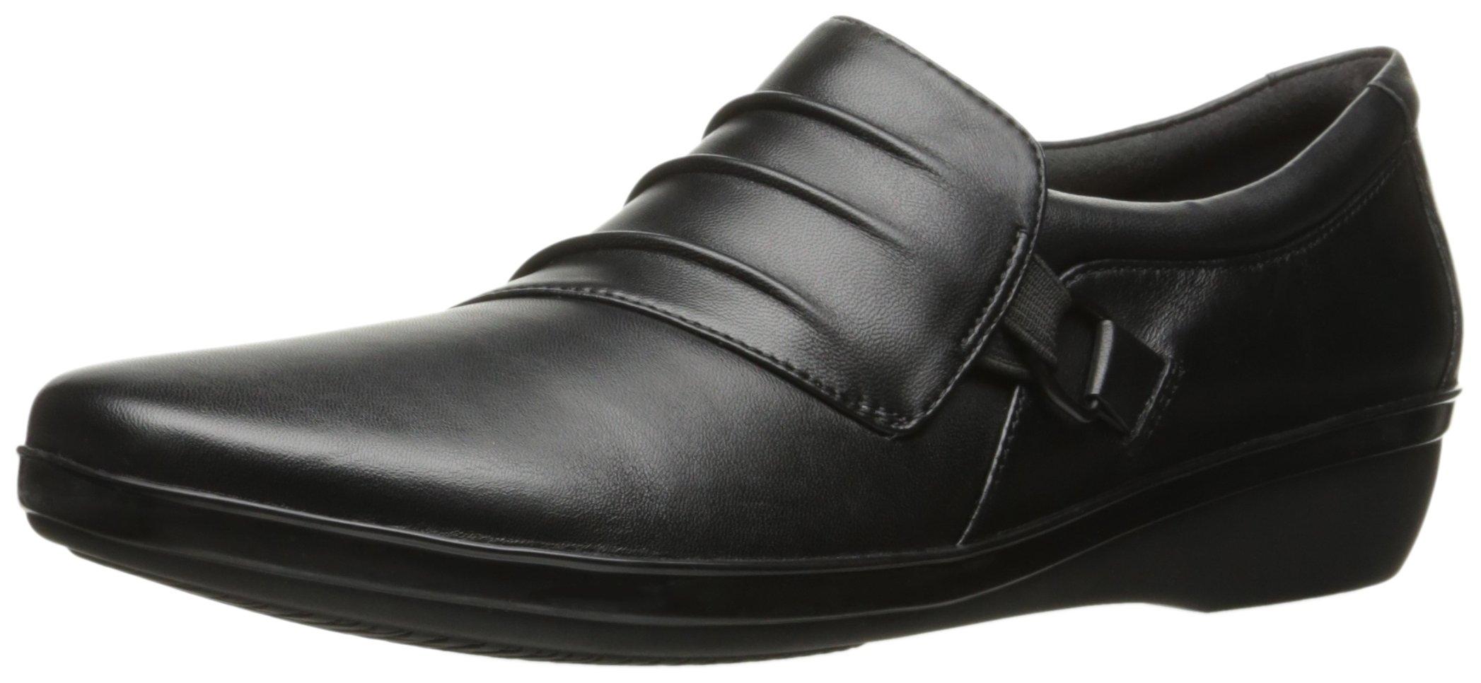 CLARKS Women's Everlay Heidi Slip-on Loafer, Black Leather, 9.5 M US