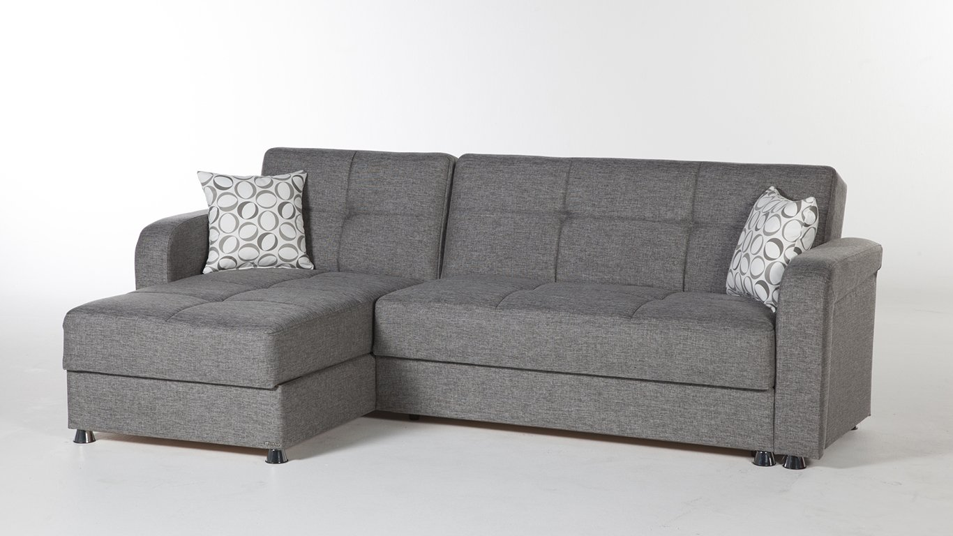 Amazon Com Vision Diego Gray Sectional Sofa By Sunset Kitchen  ~ Sectional Sofa With Sleeper