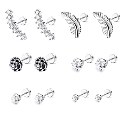 8e1fa51ce LOYALLOOK 6-8 Pairs 16G Stainless Steel Flower Feather Cartilage Cubic  Zirconia Inlaid Helix Hoop