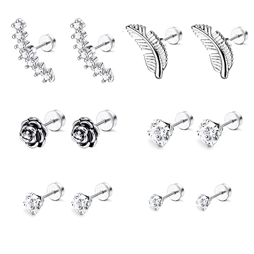 4d8d8ab251658 LOYALLOOK 6-8 Pairs 16G Stainless Steel Flower Feather Cartilage Cubic  Zirconia Inlaid Helix Hoop Stud Earrings Tragus Piercing Jewelry for Men  Women