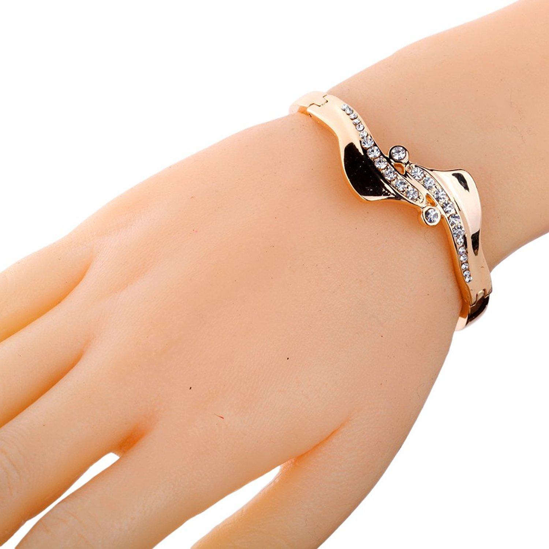 DVANIS Jewelry Unique Design Rose Gold Wave Design Inlay Ful Crystal Charming Bangle Bracelet 2.2