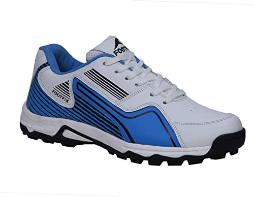 2cc9e9bf3462 FOOTFIX Arrow Men Cricket Shoes White SkyBlue  Buy Online at Low Prices in  India - Amazon.in