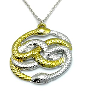 Auryn necklace ouroboros never ending story amazon toys games steampunk 2 snakes necklace pendant mozeypictures Choice Image
