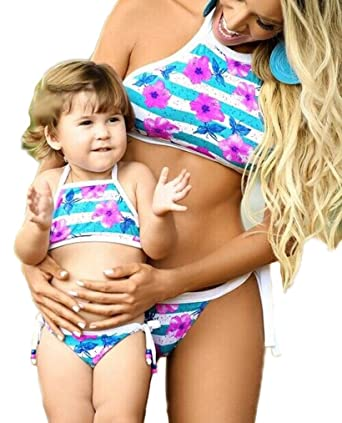 1022ab610b1fb Amazon.com  Mama Baby Matching Outfit Set Bikini Swimsuit Swimwear  Parent-Child Family Clothes  Clothing