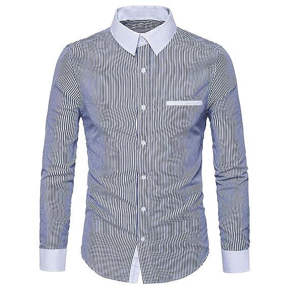 Camisa Hombre, Manadlian Hombres Casuales Camisa de Manga Larga Delgada Camisa de Manga Larga