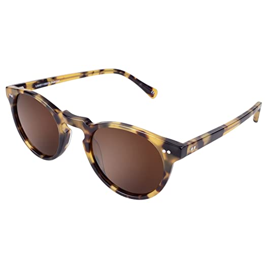 b254df2bc5 USKEYVISION Women Polarized Sunglasses UV400 Protection Round Shades  Acetate Frame UV1430 (Tortoise Frame+Brown. Roll over image to zoom in.  USKEYVISION