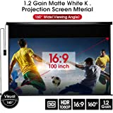 """YODOLLA 100"""" Electric Motorized Projector Screen 1.2 Gain Indoor/Outdoor Movie Screen, Wall/Ceiling Mounted Projector Screen with Remote"""