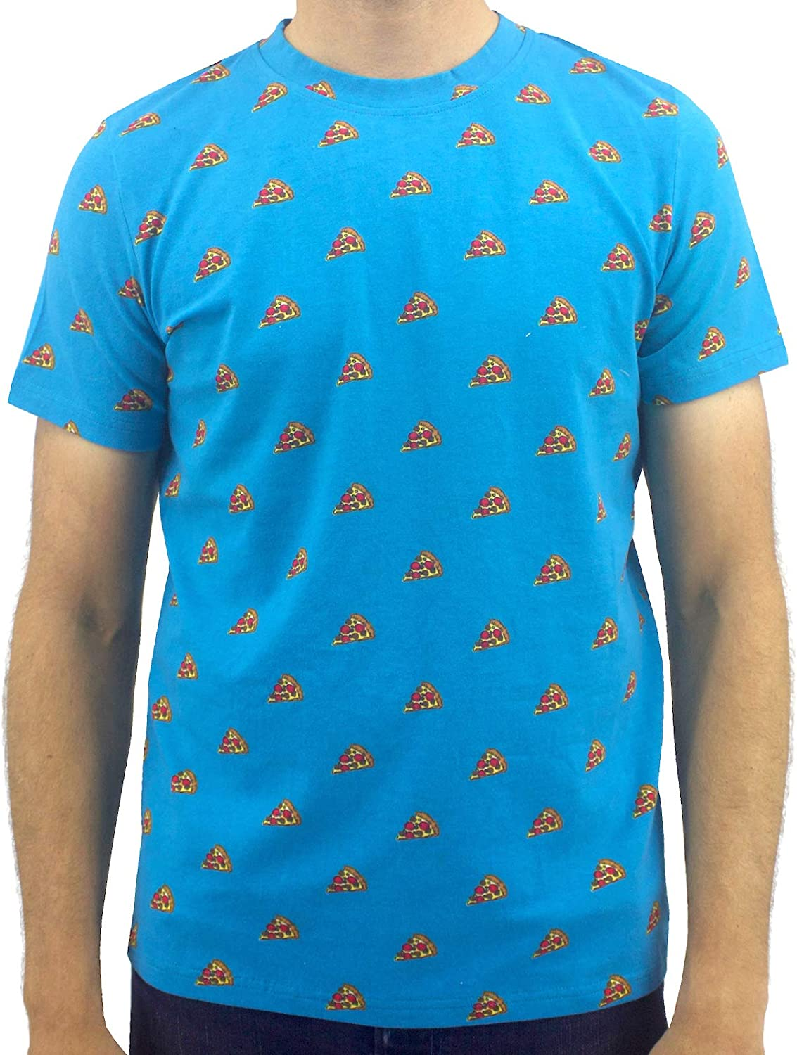 ROCK ATOLL Men's Bright Blue Food Pizza All Over Print Cotton Crew-Neck T-Shirt