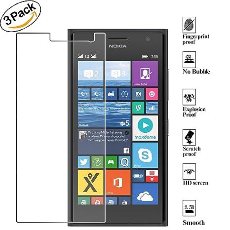 53448ec726e ZEEREE [3 Unidades] Lumia 730 Dual SIM, Dureza de Grado 9H Cristal Vidrio