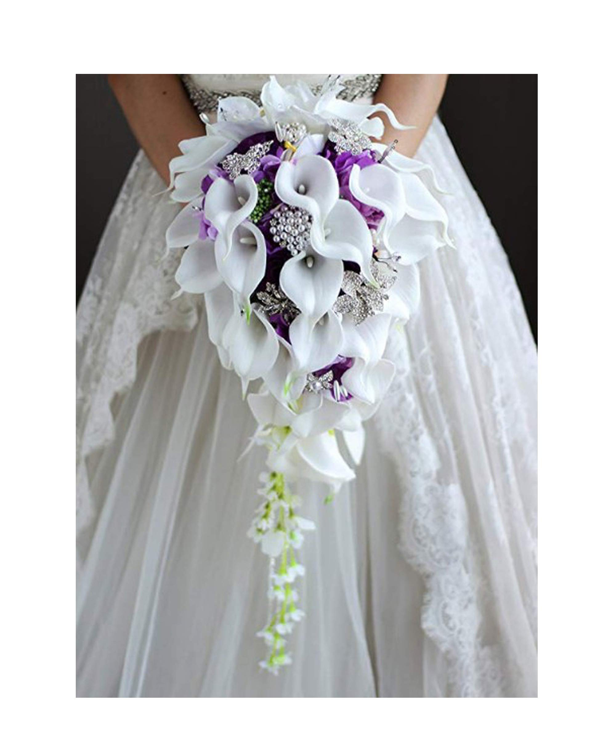 Waterfall Red Wedding Flowers Bridal Bouquets Artificial Pearls Crystal Wedding Bouquets Bouquet De Mariage Rose,Purple by Beenle IceyBridal bouquet