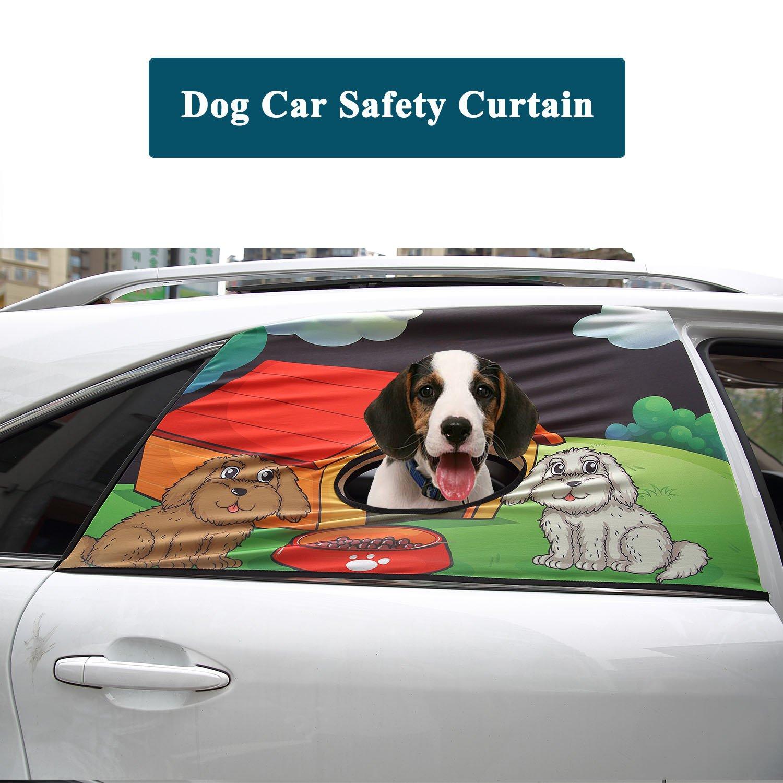 Dog House Flightbird Dog Car Safety Curtain, Car Window Barriers Foldable Car Sun Shades for Baby Pet Kid,Adjustable Flexible Breathable Stylish Universal Fit for Car SUV Jeep