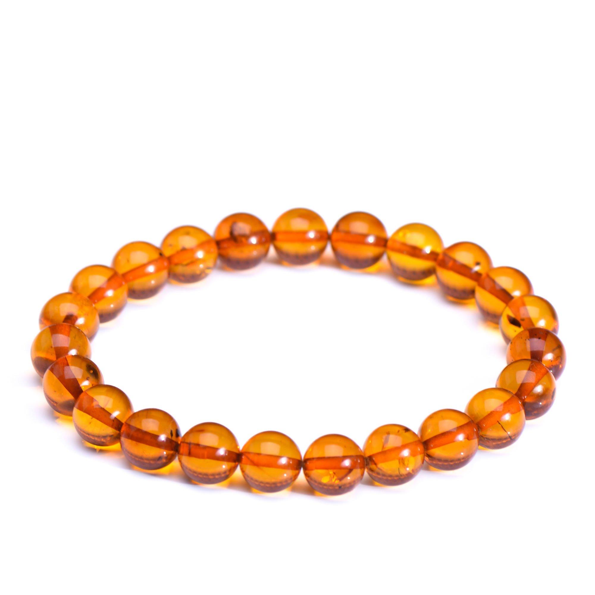 Round Beads Amber Bracelet - Unisex Amber Bracelet - Elastic Amber Bracelet - Certified Baltic Amber Handmade Round Bead Bracelet by Genuine Amber