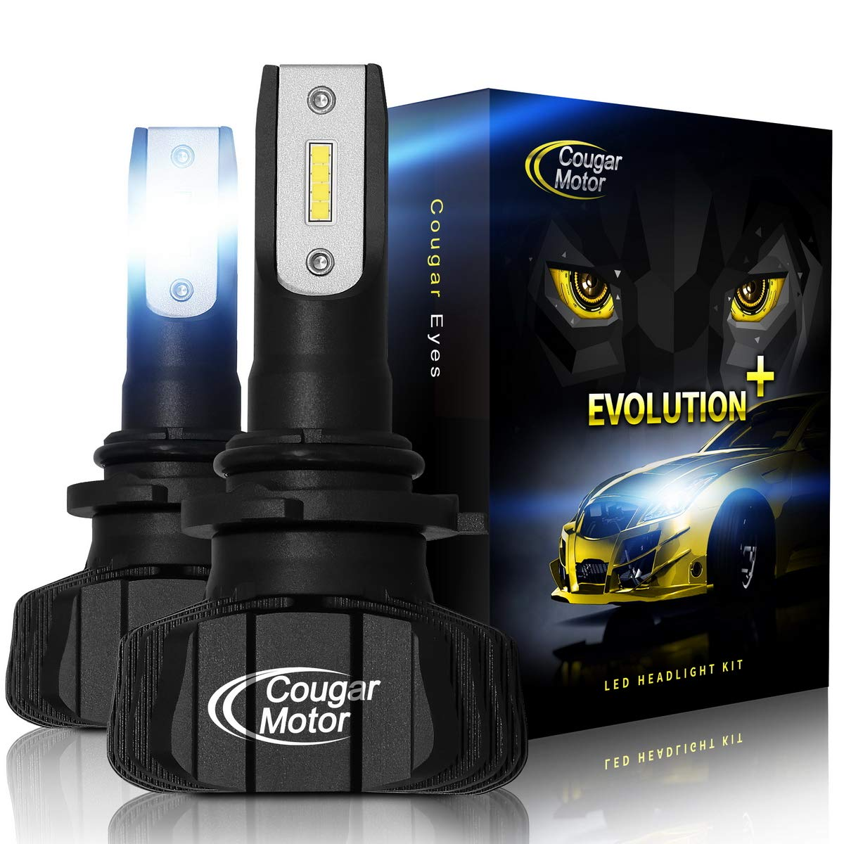 HB3 Cougar Motor 9005 Led headlight bulbs 3D Bionic Technology 9600Lm 6500K Fanless All-in-One Conversion Kit