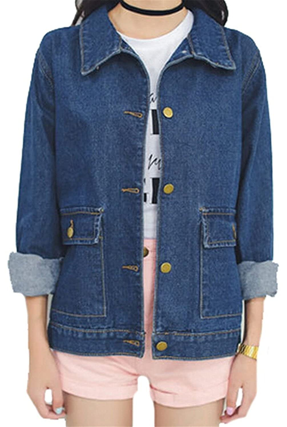 Pilusooou Womens Casual Blue Loose Fit Pockets Denim Jackets