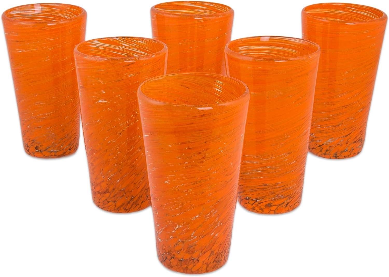 13 oz /'Orange Centrifuge/' NOVICA Hand Blown Orange Glass Highball Glasses Orange Centrifuge 258100 13 oz set of 6 set of 6