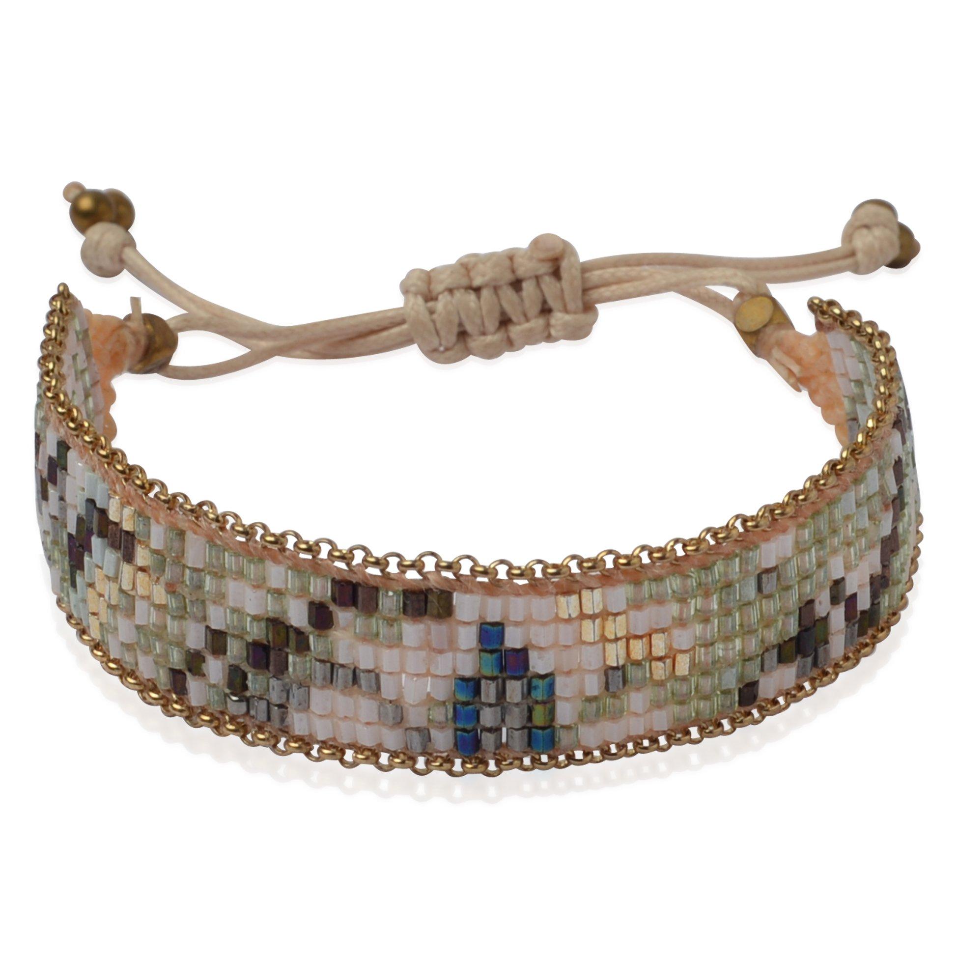 Joop Joop Handmade Crystal Camo Boho Beaded Single Wrap Cuff Bracelet with Slider Opening