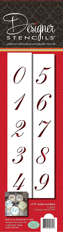 Designer Stencils C141 1.25 Inch Script Numbers Cake Stencils, Beige/semi-transparent