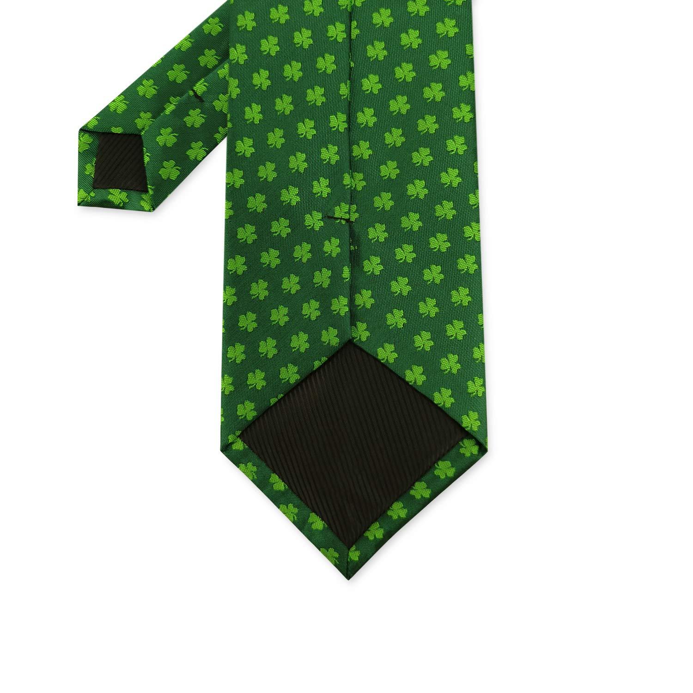 Mens Tie Shamrock Pattern Solid Navy Green Clover Necktie Self Tie for Festival