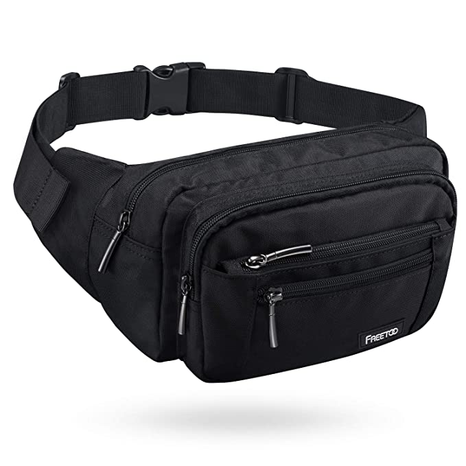 FREETOO Waist Pack Bag Fanny Pack for Men&Women Hip Bum Bag with Adjustable Strap for Outdoors Workout Traveling Casual Running Hiking Cycling (Black) best women's fanny pack