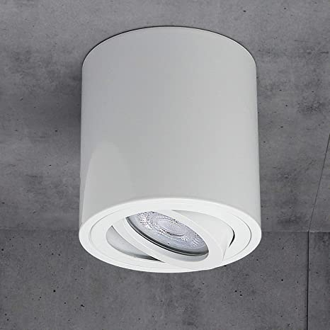 Luminaria de superficie Foco de superficie Luminaria de techo Led Milano GU10 230V [redondo, blanco, giratorio] Lámpara de techo Spotlight Lámpara de ...