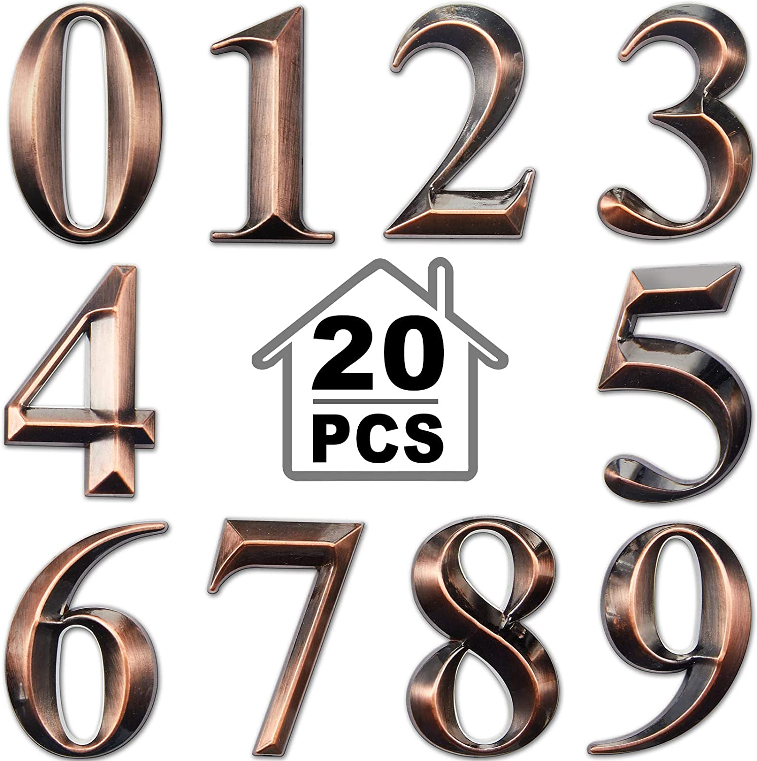 20 Pieces 3D Mailbox Numbers 0-9 Self-Adhesive 2 Inch Address Number Stickers Door House Numbers Style Street Mailbox Sign for Apartment Home Office (Bronze)
