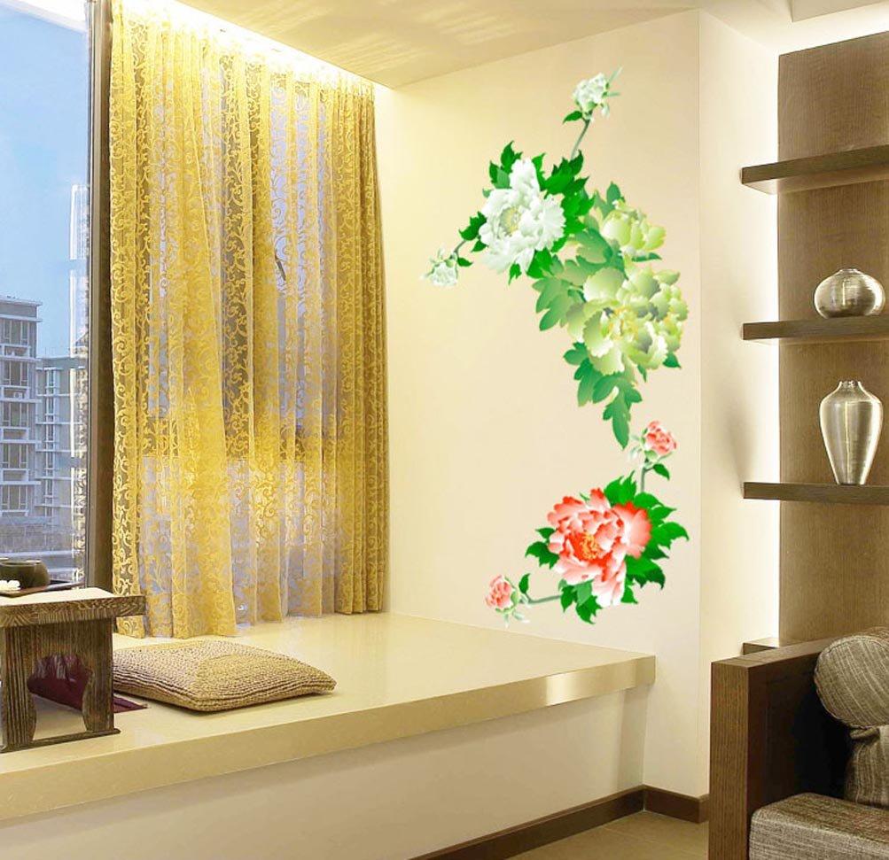 Amazon.com: BIBITIME Showy Peony Wall Decal Blooming Flower Vinyl ...