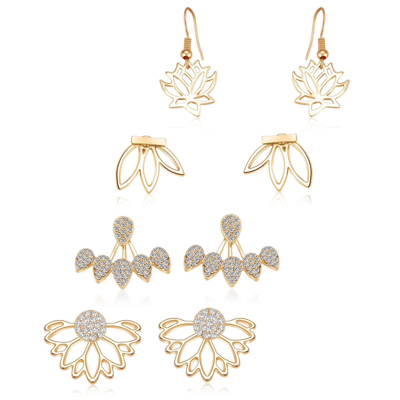 Amazoncom Zhenhui Lotus Flower Earrings 4 Pairs Crystal Ear