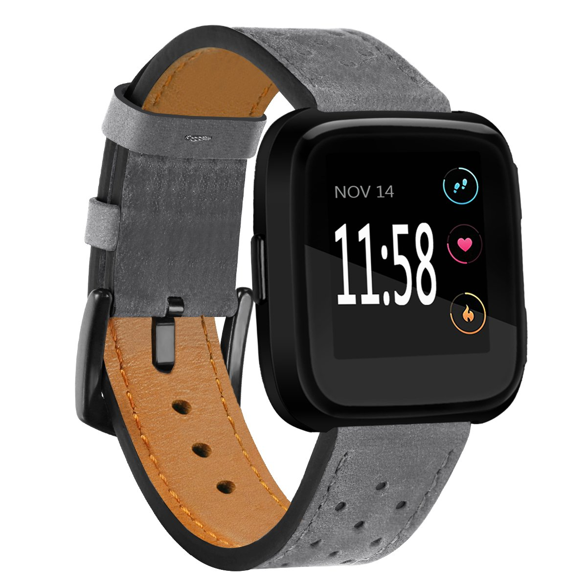 Fitbit Versa Bands Perforated Leather Accessory Band Strap Replacement Wristband for Fitbit Versa Women Men (Gray)