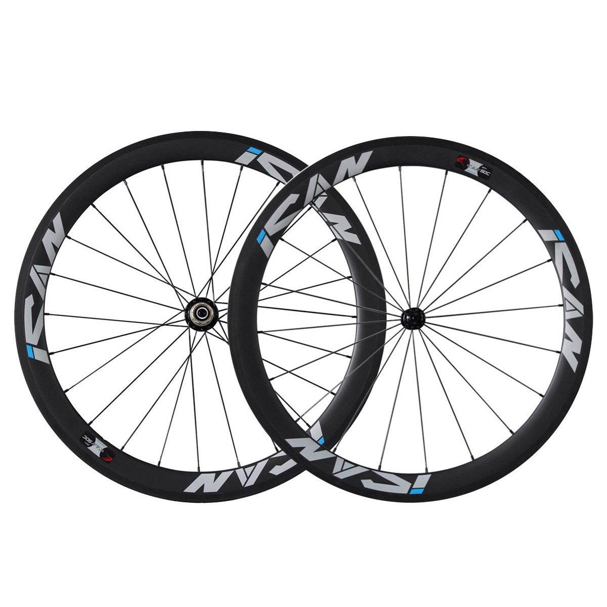 ICAN Carbon Road Bike Tubular Wheelset 50mm Rim Shimano 10/11 Speed 20/24 Holes 1330g