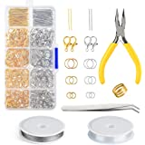 FEPITO Jewelry Making Kit Silver and Gold Lobster Clasps Open Jump Rings and Pin Jewelry Findings Kit with Pliers