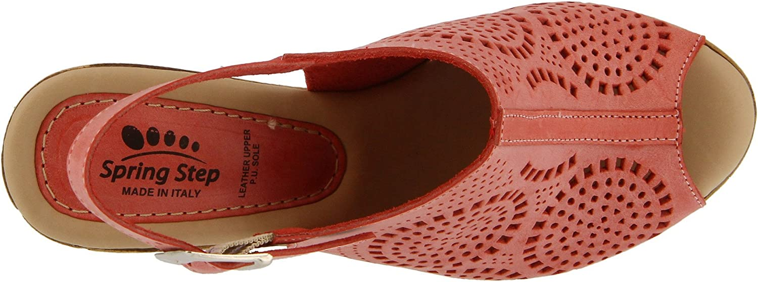 Rich Colored Laser-Cut Leather Peep-Toe Sandal Color Red Womens Spring Step Liberty