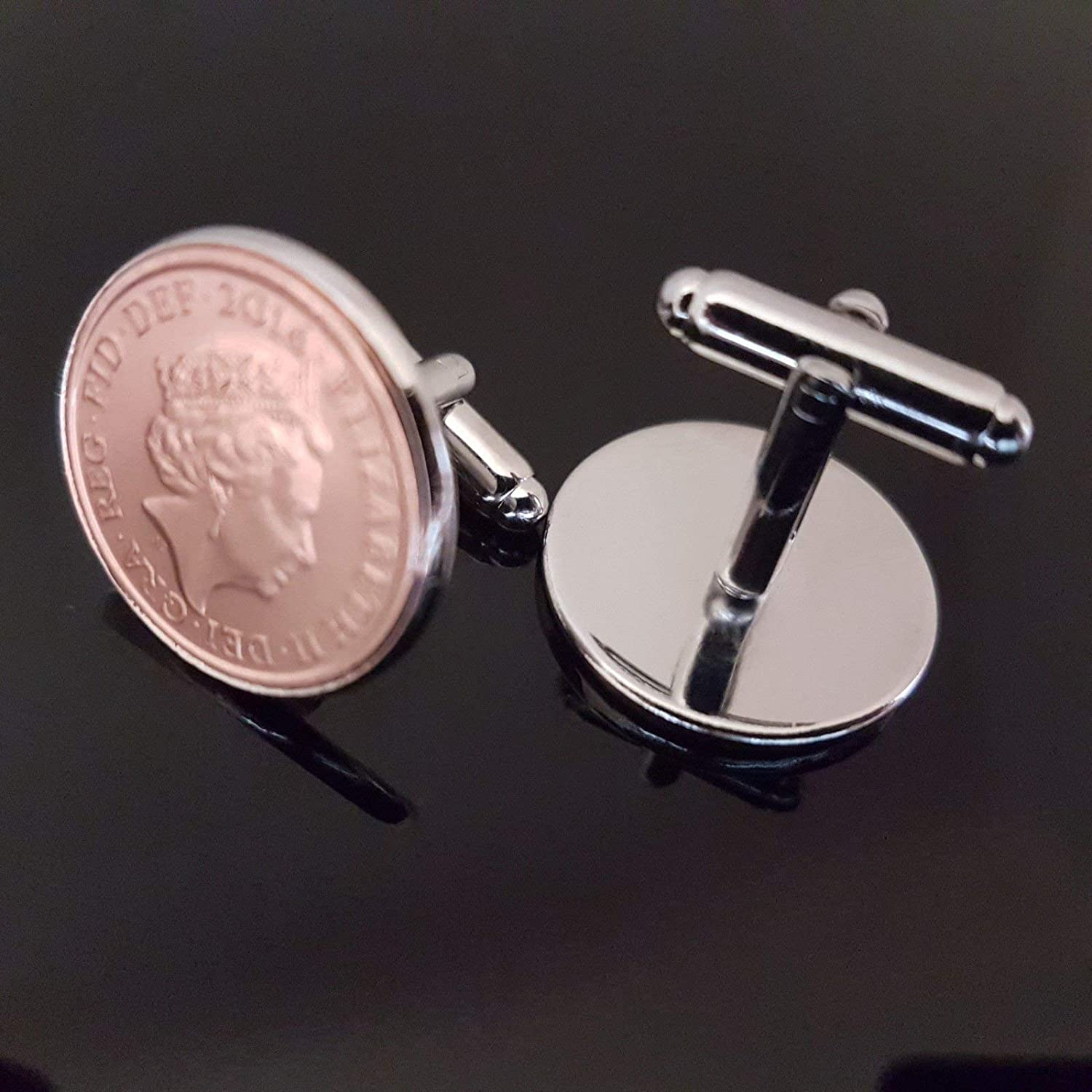 1p Silver mounted Cufflinks one penny pence ✔1971✔ or pick your year 1971-1991