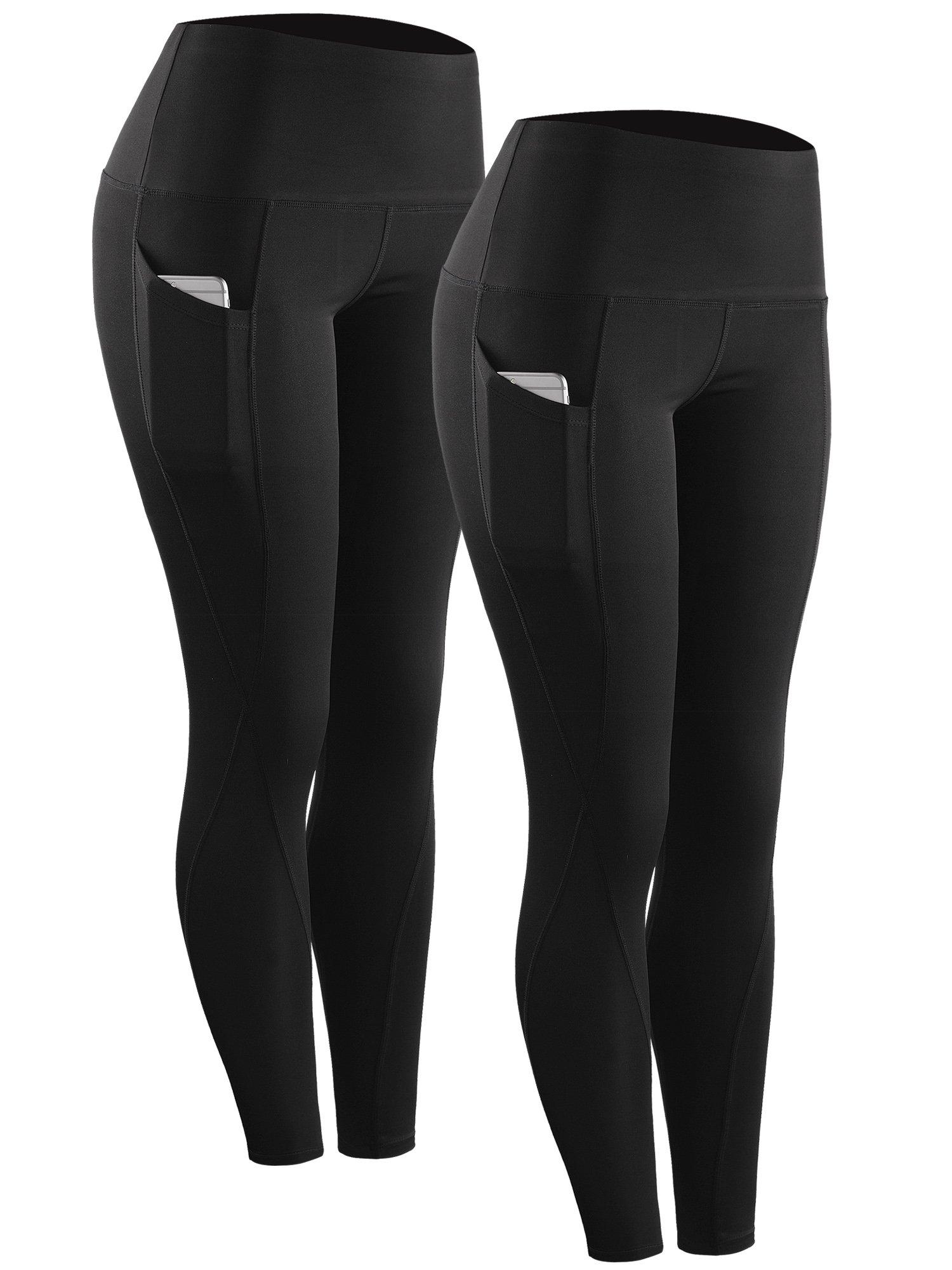 Neleus 2 Pack Tummy Control High Waist Running Workout Leggings,9017,2 Pack,Black,US S,EU M by Neleus