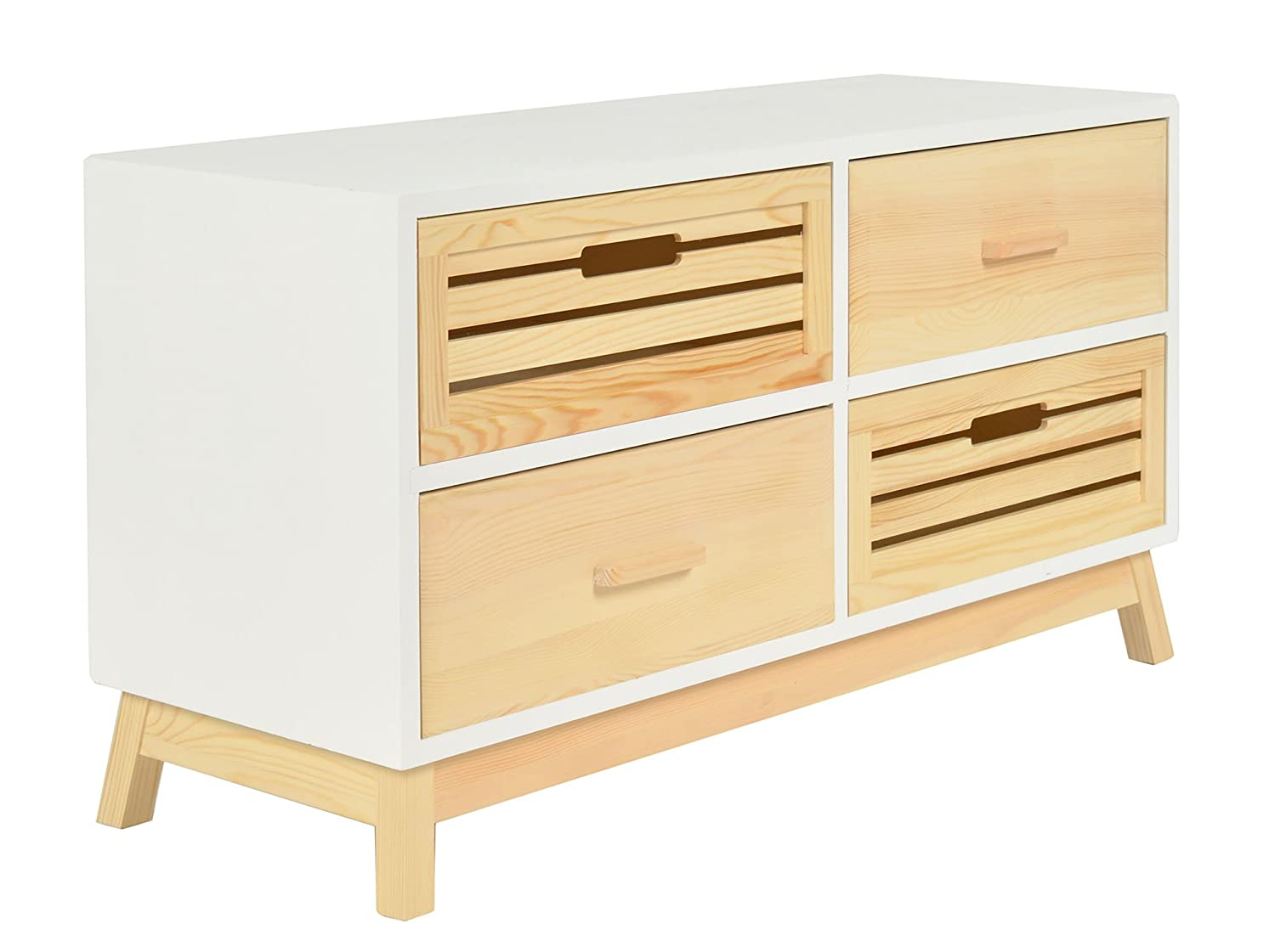 ts-ideen Chest Drawers Cabinet in White Natural Pine wood 4 drawers