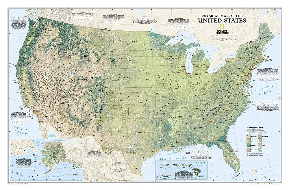 National Geographic: United States Physical Wall Map - Laminated (38.25 x 25.25 inches) (National Geographic Reference Map)
