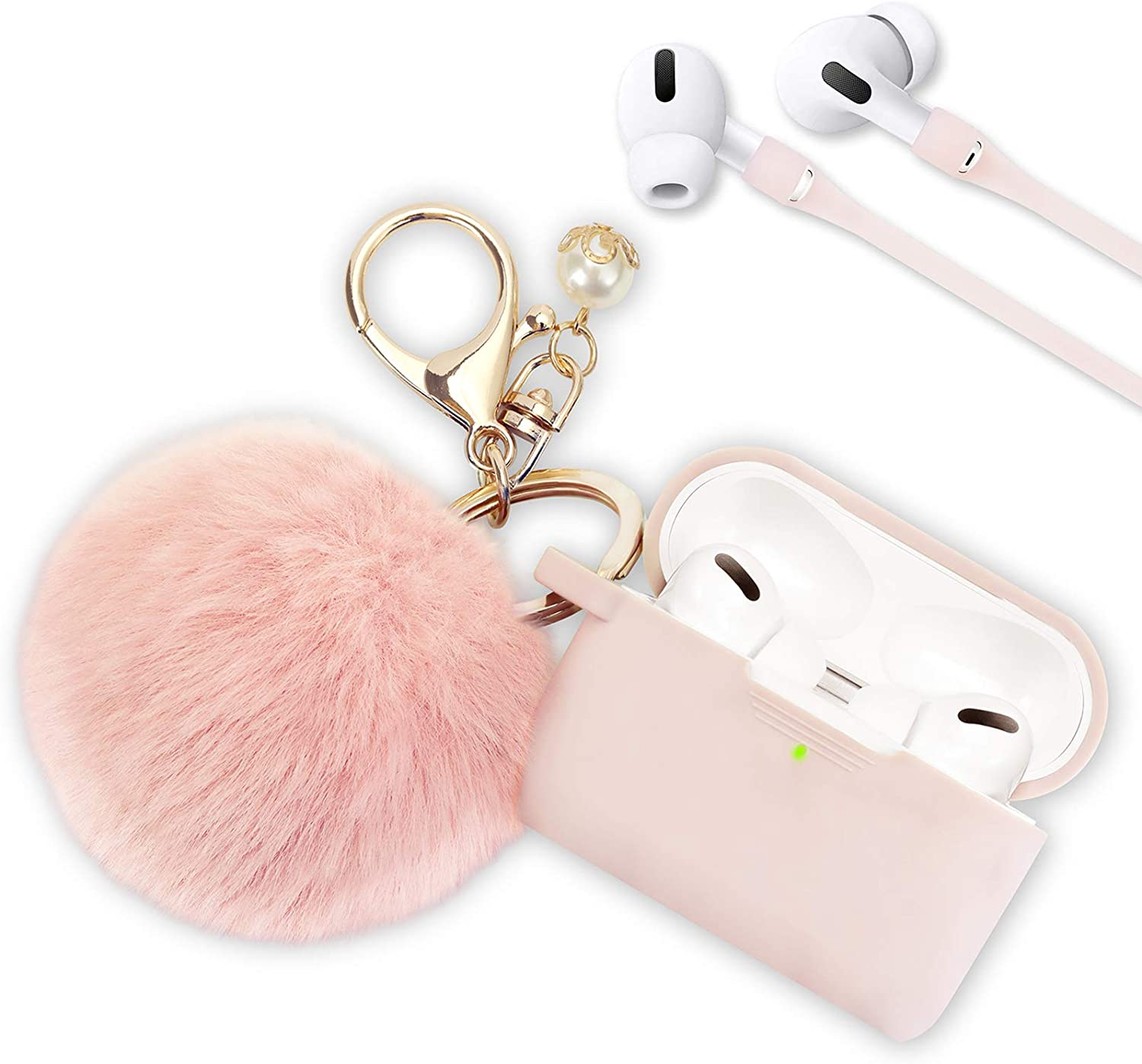 Case for Airpods Pro, Filoto Airpod Pro Case Cover for Apple AirPods Pro Wireless Charging Case, Cute Air Pods 3 Case Silicone Protective Accessories Keychain/Pompom/Strap (Cividini Pink)