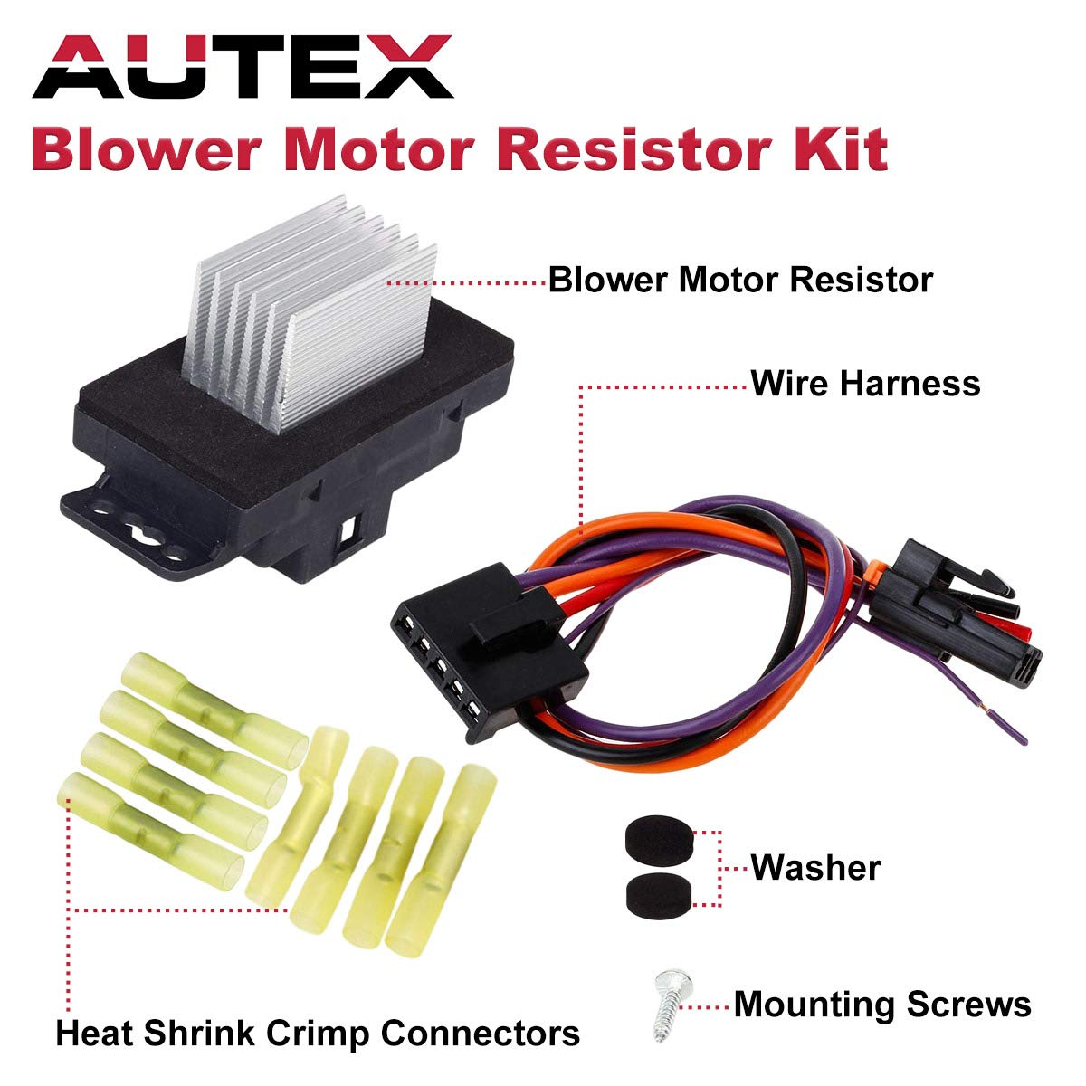 Partssquare Hvac Blower Motor Resistor Complete Kit With Wire Harness 15850268 22754990 Ru359 Replacement For Chevy Silverado Tahoe Suburban