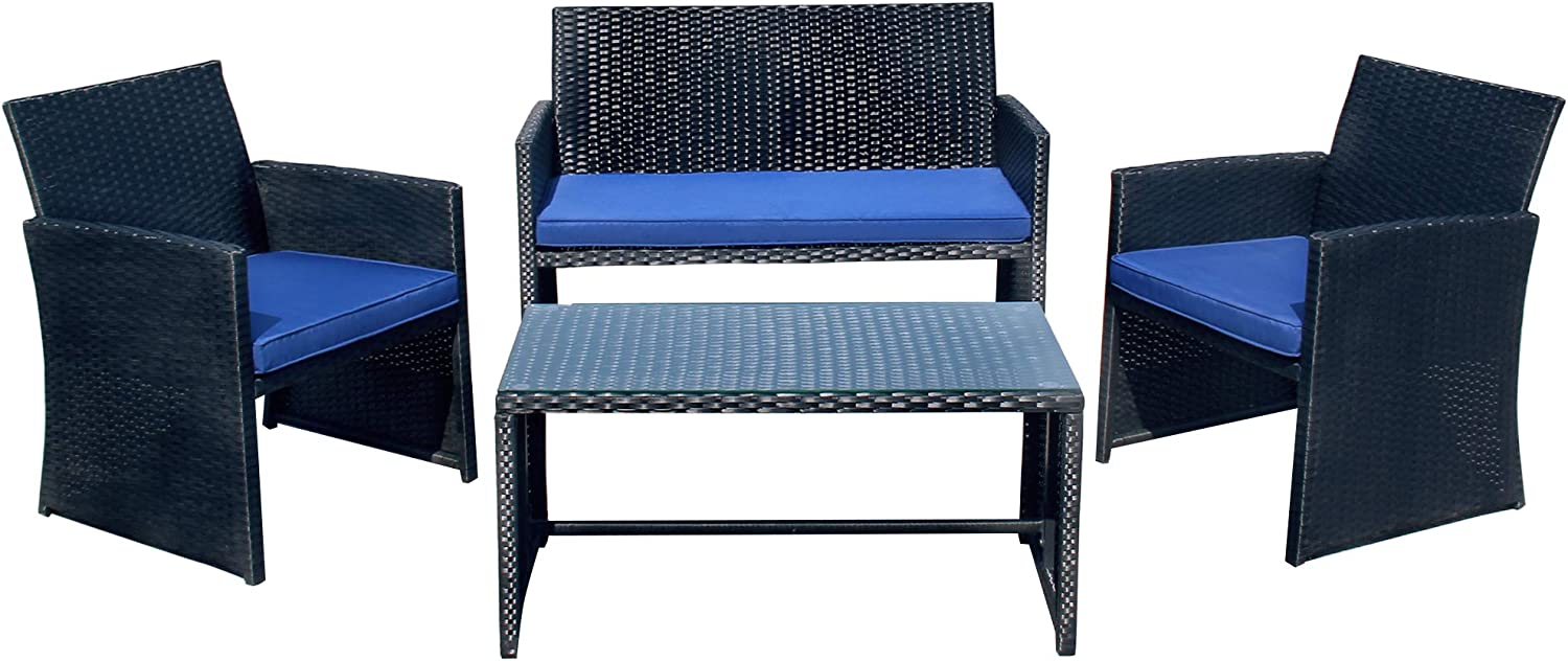 PAOLFOX Patio Rattan Conversation Set 4pcs Outdoor Wicker Furniture w/Tempered Glass Coffee Table & Thick Cushion Chair for Garden Lawn Poolside Backyard Balcony (Black Sets+Blue Cushion)