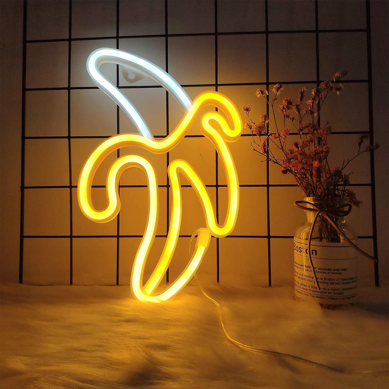 ENUOLI LED Banana Neon Signs Neon Lights USB/3-AA Battery Powered Banana Night Light Art Decorative Lights Banana Neon Wall Decor Lights for Home Wedding Birthday Party Kids Room Living Room Holiday
