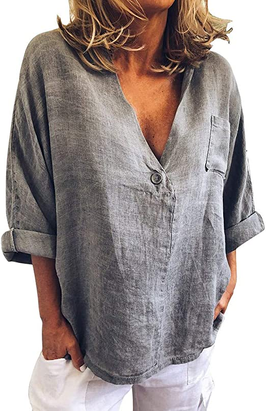 Camisas de Mujer Camisa de Lino Tallas Grandes Mujer Moda ...