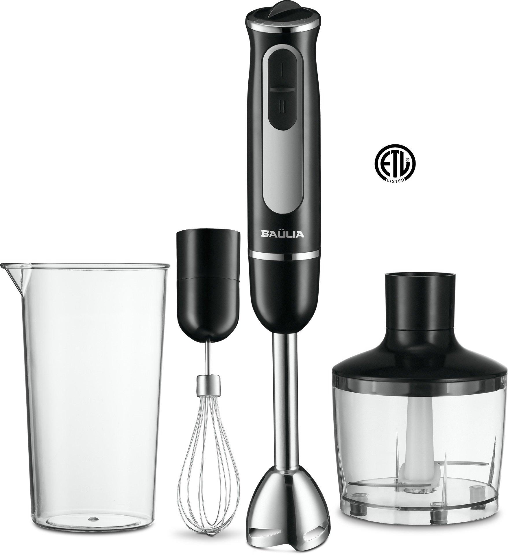 Baulia HB802 500 Watt All-in-One Immersion Powerful Hand Blender Set, Black
