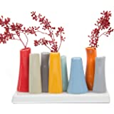 Chive - Pooley 2, Unique Ceramic Flower Vase, Low Rectangular Modern Decorative Vase for Home Decor Living Room Office and Centerpieces, Red Grey Orange Blue